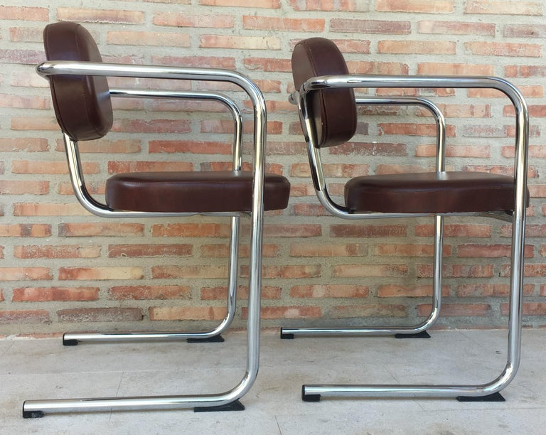 Vintage Italian Brown Leather and Chrome Armchairs, 1980s, Set of Five For Sale 1