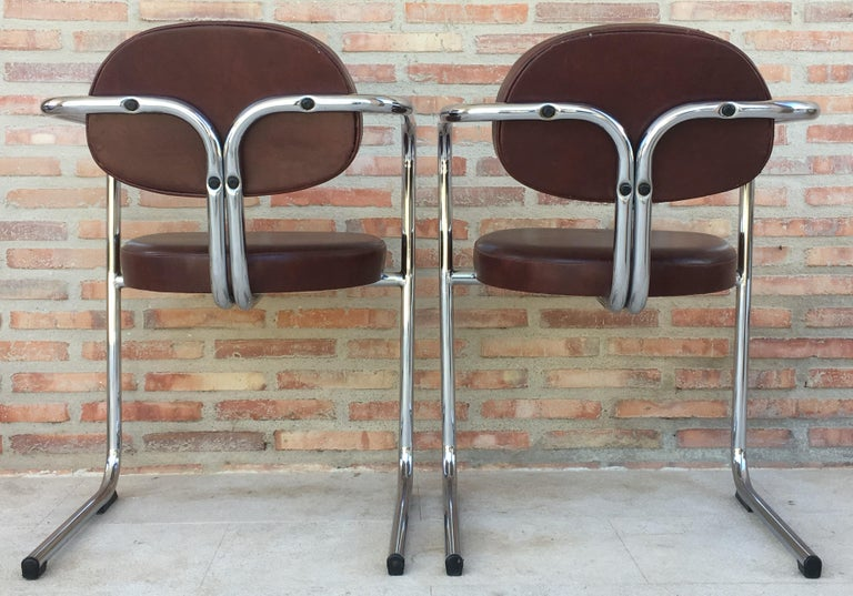 Vintage Italian Brown Leather and Chrome Armchairs, 1980s, Set of Five For Sale 2