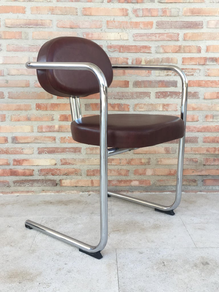 Vintage Italian Brown Leather and Chrome Armchairs, 1980s, Set of Five For Sale 3
