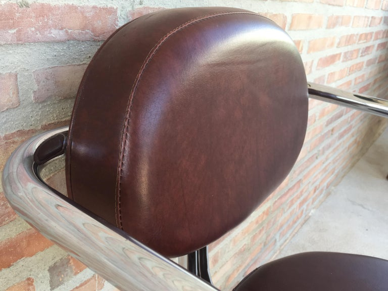 Vintage Italian Brown Leather and Chrome Armchairs, 1980s, Set of Five For Sale 4