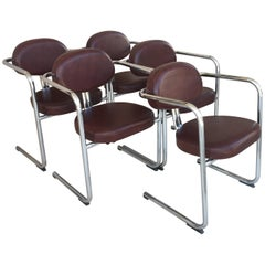Vintage Italian Brown Leather and Chrome Armchairs, 1980s, Set of Five
