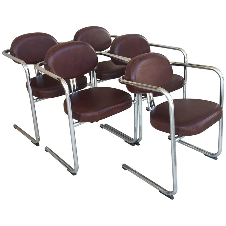 Vintage Italian Brown Leather and Chrome Armchairs, 1980s, Set of Five For Sale