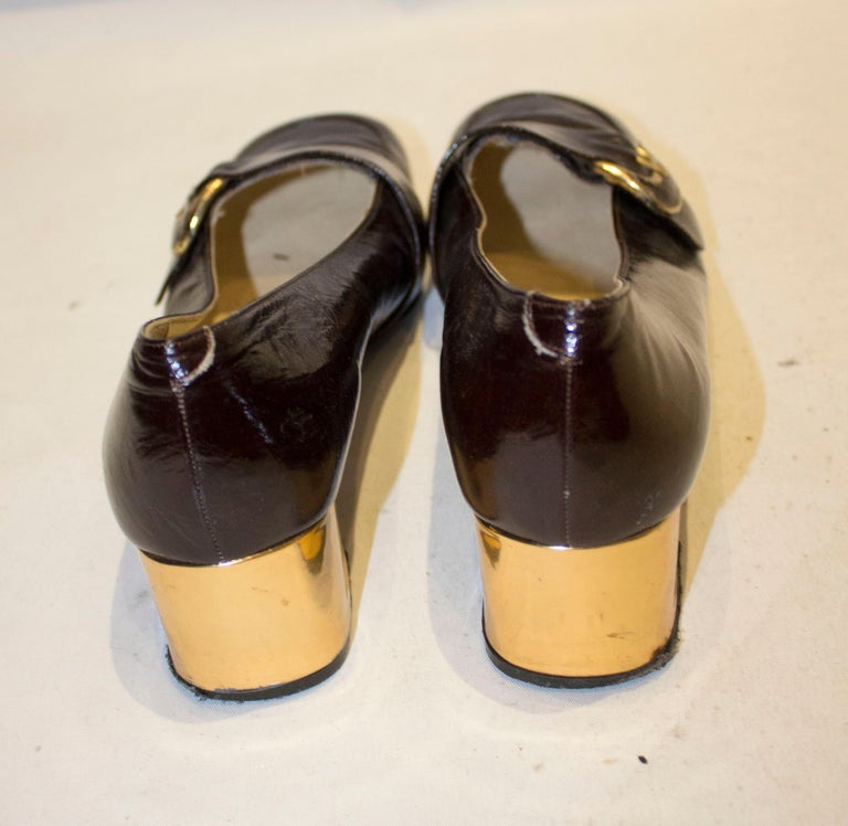 Vintage Italian Brown Patent and Gold Shoes For Sale 1