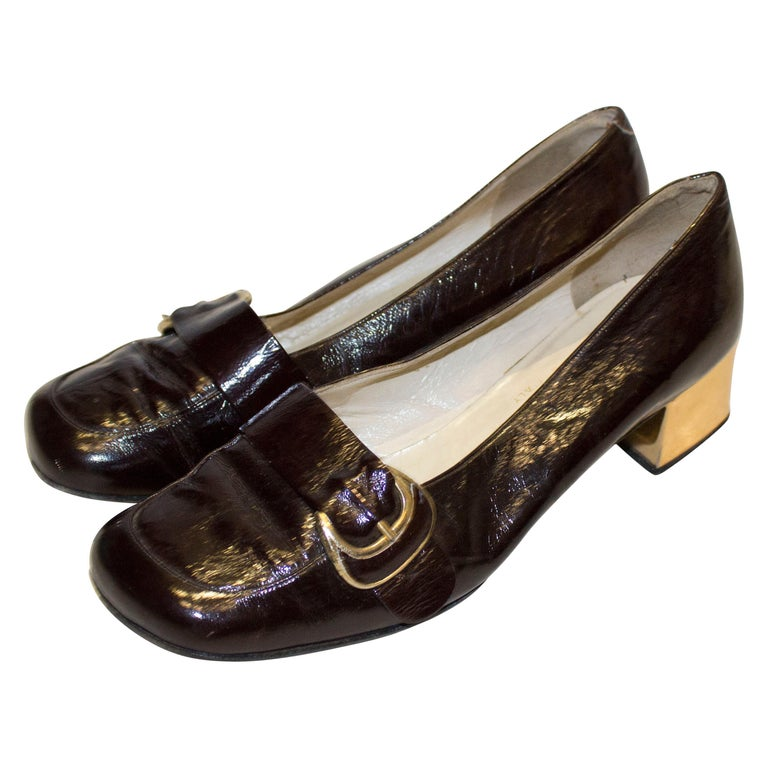 Vintage Italian Brown Patent and Gold Shoes For Sale