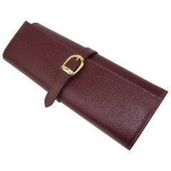 Vintage Italian Burgundy Leather Jewelry Travel Roll Case