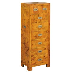 Vintage Italian Burl Campaign Style Eight-Drawer Tall Chest with Brass Hardware