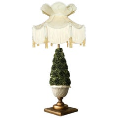 Vintage Italian Capidomonte Porcelain Polychrome Topiary Table Lamp