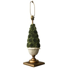 Vintage Italian Capidomonte Porcelain Polychrome Topiary Table Lamp, Gilded Base