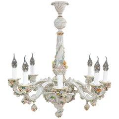 Vintage Italian Capodimonte Porcelain Chandelier
