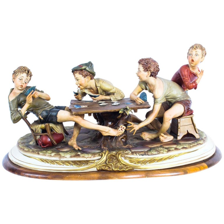 "Vintage Italian Capodimonte Porcelain ""The Card Cheats"" by Merli"