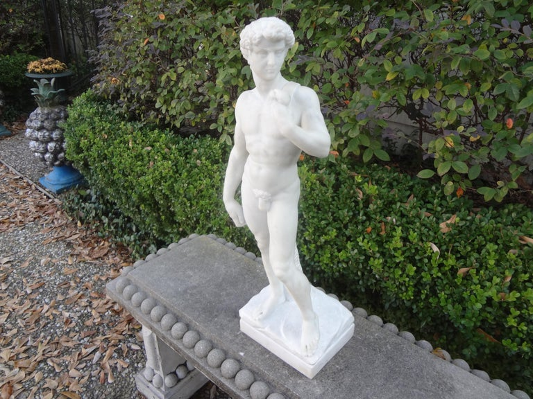 Vintage Italian Carrara Marble Sculpture of David For Sale 6