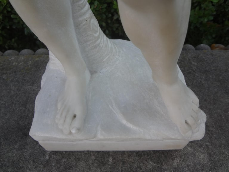 Vintage Italian Carrara Marble Sculpture of David For Sale 1