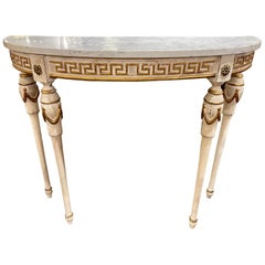 Vintage Italian Carved and Painted Demi-Lune Table with Greek Key Pattern