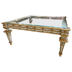 Vintage Italian Carved and Parcel Coffee Table