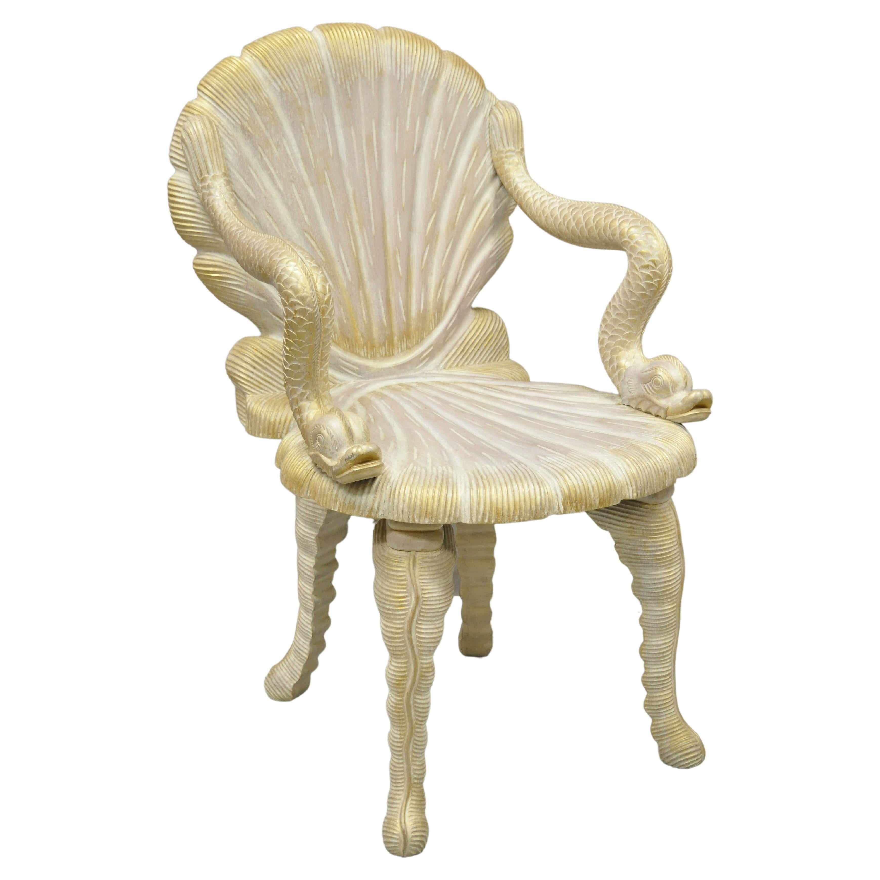 Vintage Italian Carved Wood Grotto Chair Clam Sea Shell and Full Dolphin Arms