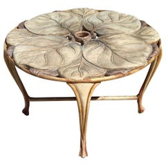 Vintage Italian Carved Wood Round Table with Large Leaf Table Top, 1970s