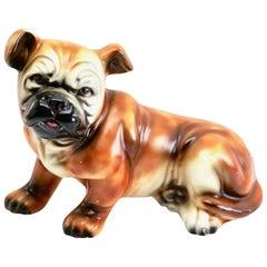 Vintage Italian Ceramic Bulldog Sculpture, 1950s