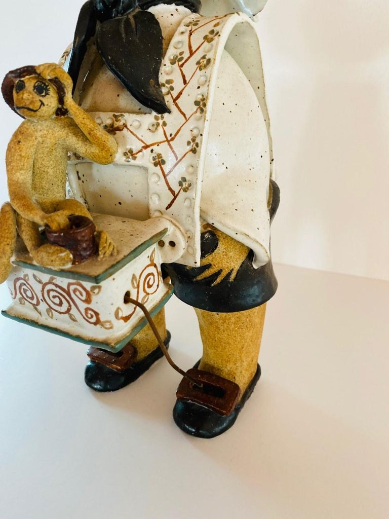 Vintage Italian Ceramic Figure Man with Musical Box and Monkey For Sale 4
