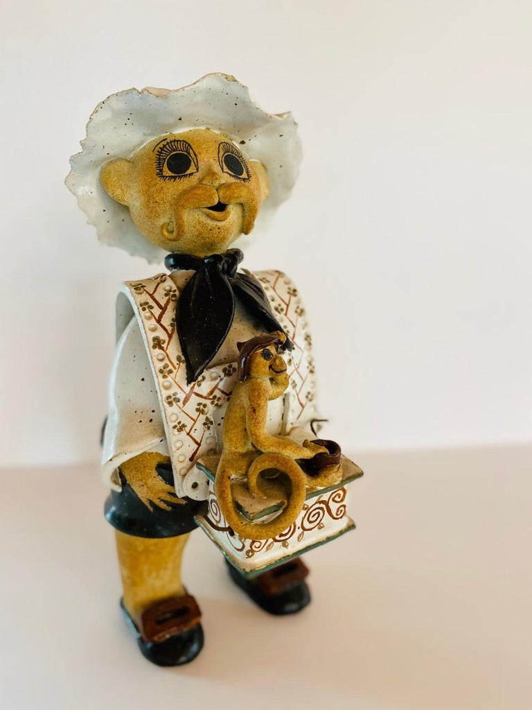 Arts and Crafts Vintage Italian Ceramic Figure Man with Musical Box and Monkey For Sale