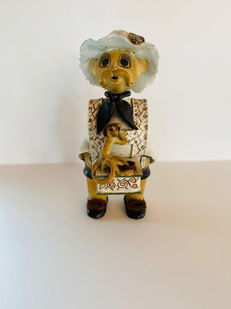 Hand-Crafted Vintage Italian Ceramic Figure Man with Musical Box and Monkey For Sale