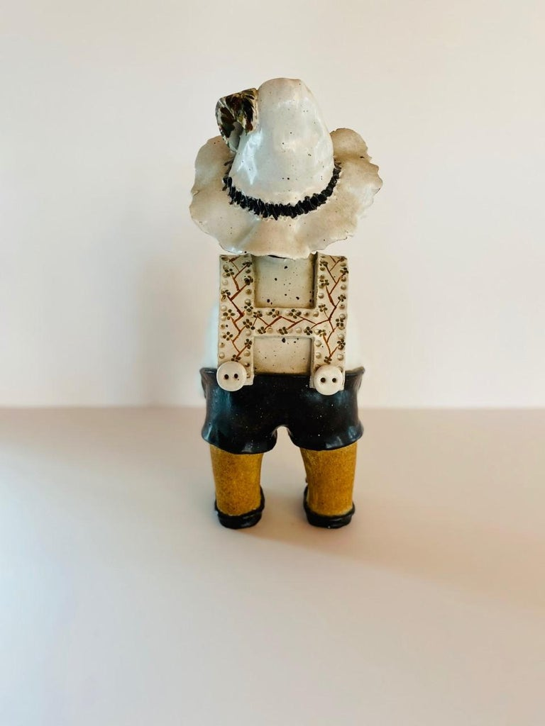 Vintage Italian Ceramic Figure Man with Musical Box and Monkey In Good Condition For Sale In San Diego, CA