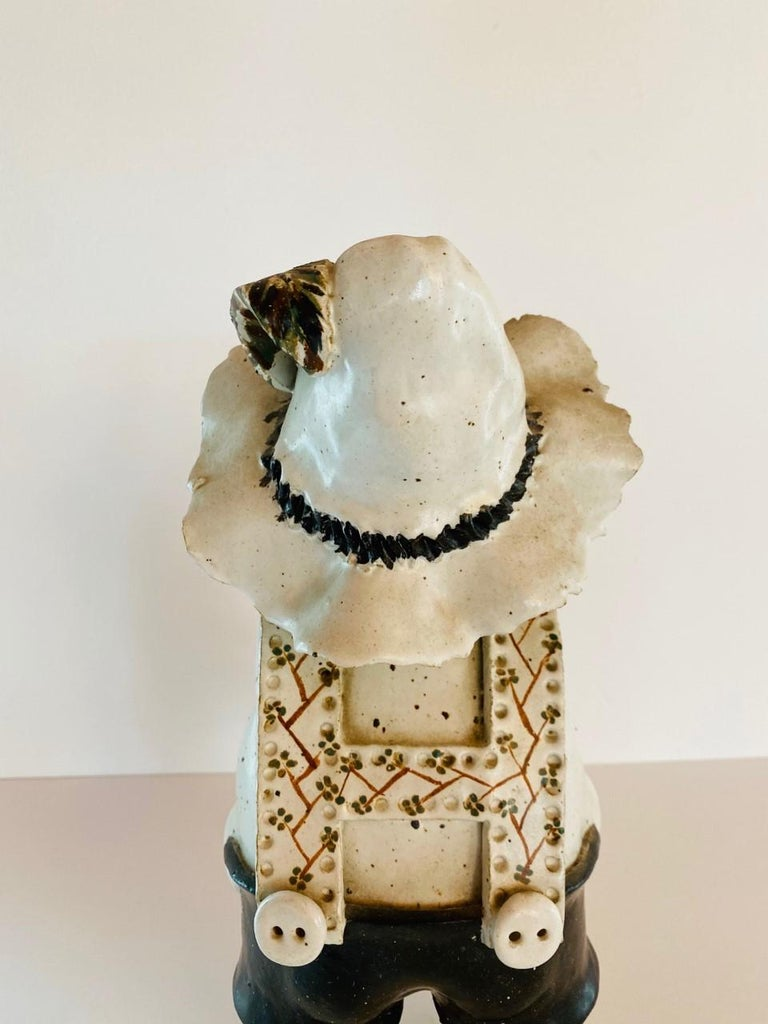 Late 20th Century Vintage Italian Ceramic Figure Man with Musical Box and Monkey For Sale