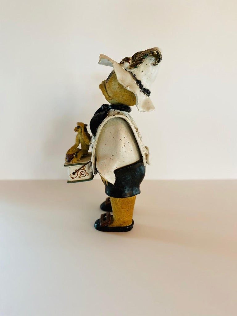 Vintage Italian Ceramic Figure Man with Musical Box and Monkey For Sale 1