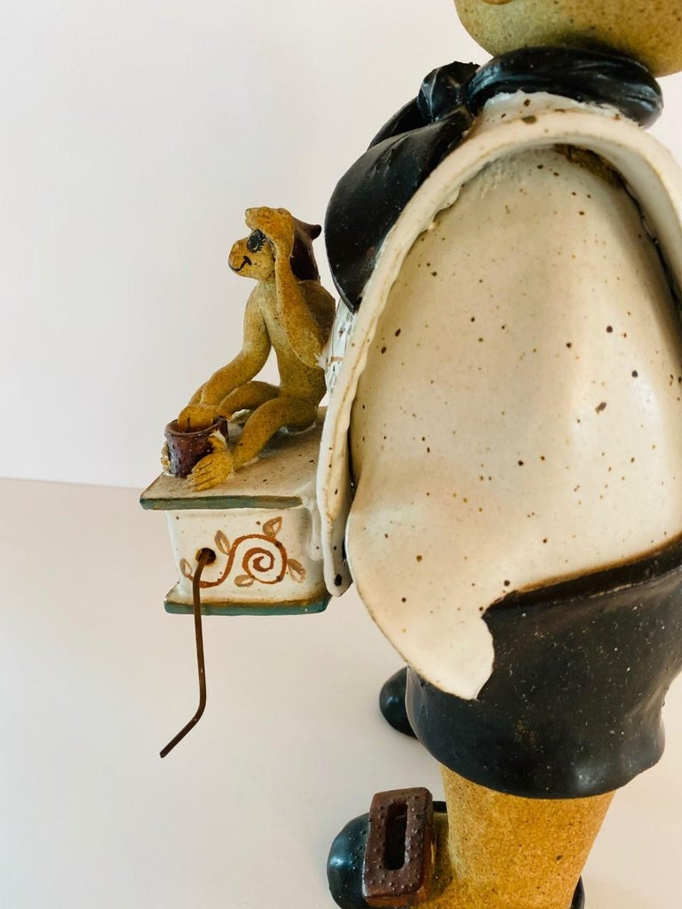 Vintage Italian Ceramic Figure Man with Musical Box and Monkey For Sale 2