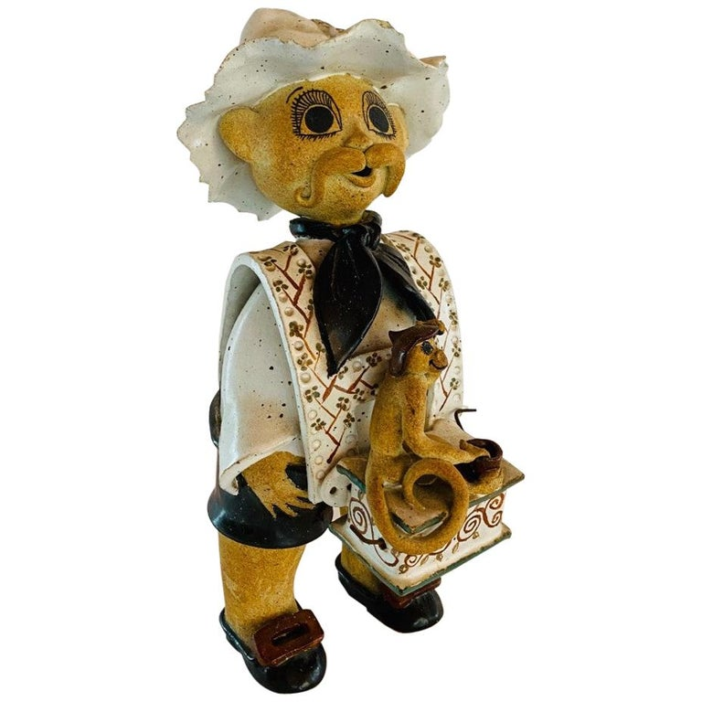Vintage Italian Ceramic Figure Man with Musical Box and Monkey For Sale
