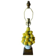 Vintage Italian Ceramic Lemon Lamp Basket Table Lamp Newly Wired