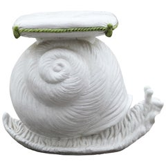 Vintage Italian Ceramic Snail with Cushion Garden Seat Accent Stool / Side Table