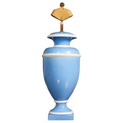 Vintage Italian Ceramic Urn Lamp in Blue and White