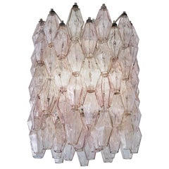 Vintage Italian Chandelier in Soft Pink and Smoked Blown Glass