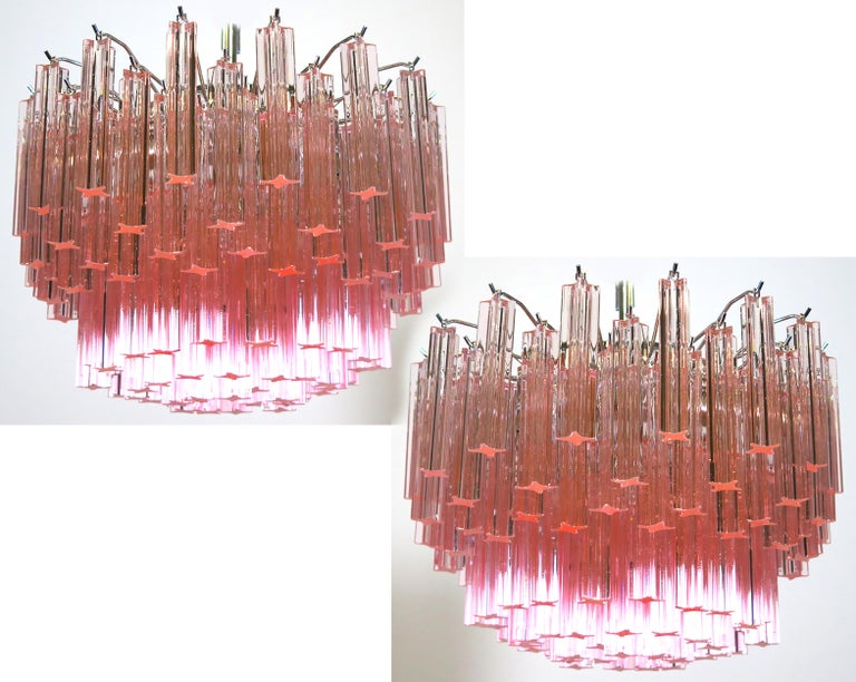 Vintage Italian Chandelier Made by 107 Crystal Quadriedri, Murano For Sale 3