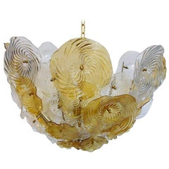 Vintage Italian Chandelier with Amber and Clear Murano Glass, Italy, 1960s
