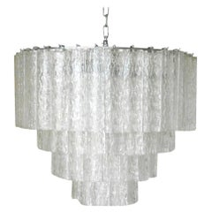 Vintage Italian Chandelier w/ Clear Murano Glass Tubes Designed by Venini, 1960s