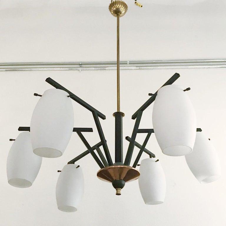 Vintage Italian chandelier w/ murano glass shades style of stilnovo, circa 1960's.