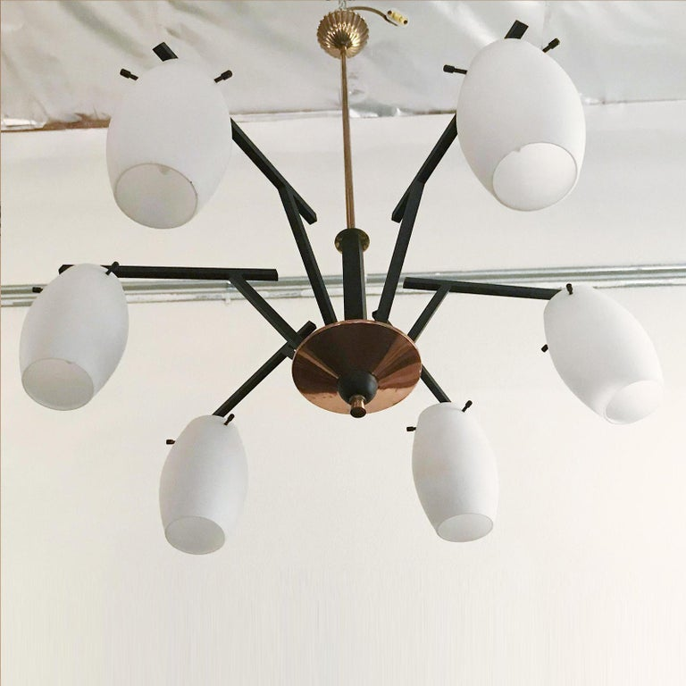Vintage Italian Chandelier w/ Murano Glass Shades Style of Stilnovo, circa 1960 In Good Condition For Sale In Los Angeles, CA