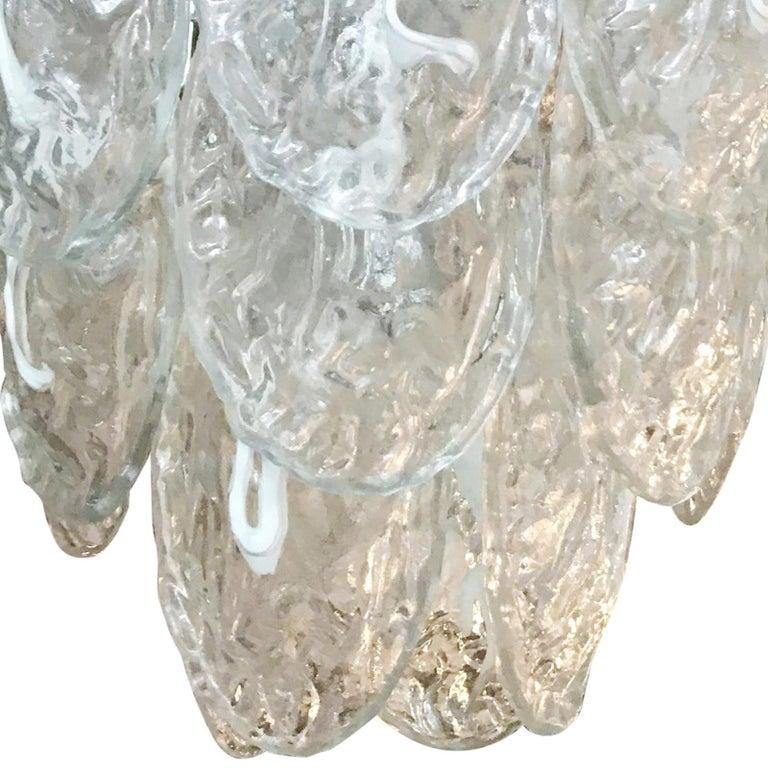 Vintage Italian chandelier w / Murano glass shells Designed by Mazzega circa 1960s.