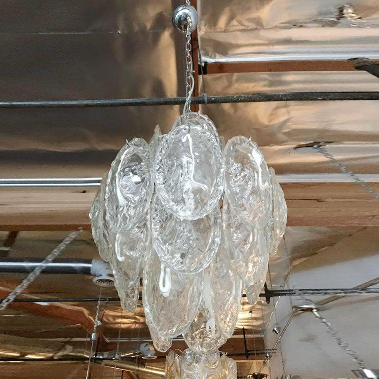 Mid-20th Century Vintage Italian Chandelier w / Murano Glass Shells Designed by Mazzega, c 1960s
