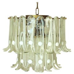 Vintage Italian Chandelier with Pale Green Murano Glass Designed, Mazzega, 1960s
