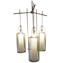 Vintage Italian Chandelier with Caged Lights