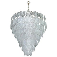 Vintage Italian Chandelier with Clear Murano Oval Discs, 1960s