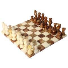 Vintage Italian Chess Board with Alabaster Carved Pieces