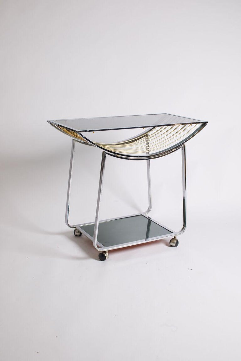 Vintage Italian Chrome and Smoked Glass Bar Cart In Good Condition For Sale In Aspen, CO