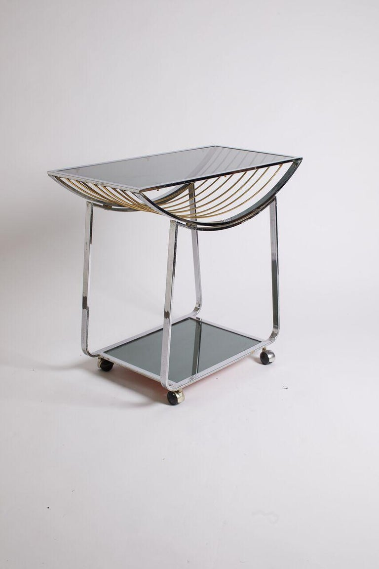 Vintage Italian Chrome and Smoked Glass Bar Cart For Sale 1