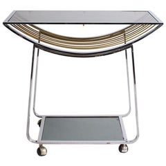 Vintage Italian Chrome and Smoked Glass Bar Cart