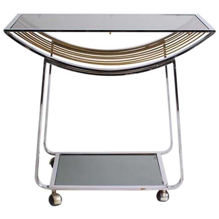 Vintage Italian Chrome and Smoked Glass Bar Cart For Sale