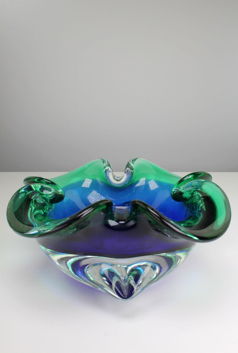 Mid-Century Modern Vintage Italian Clear Blue and Emerald Green Murano Glass Bowl, 1950s For Sale