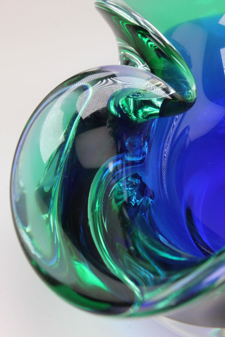 Mid-20th Century Vintage Italian Clear Blue and Emerald Green Murano Glass Bowl, 1950s For Sale